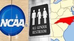 NCAA logo, transgender bathroom sign and NC map