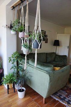 Makrame planter hanging living room   urban jungle   UKHomeBlogHop