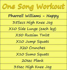 one song workouts - Happy One Song Workouts, Workout Songs, Fun Workouts, Song Workout Challenge, Wednesday Workout, Workout Journal, Pharrell Williams Happy, Singing Exercises, Home Exercise Routines
