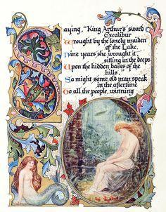 "Avalon Camelot King Arthur:  Alberto Sangorski, from ""Morte d'Arthur,"" a poem, by Alfred, Lord Tennyson, London, 1912."