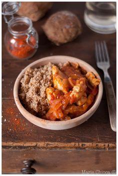 """Mijotée de blancs de poulet au piment d'Espelette, couscous d'épeautre  (""""recette détox"""")"""