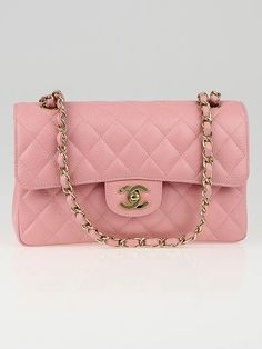 595a357f56bb Chanel Pink Quilted Caviar Leather Small Classic Double Flap Bag Used Chanel  Bags, Chanel Caviar