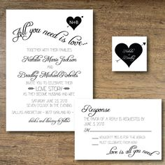 Printable Wedding Invitation All You Need Is Love 30 00 Via Etsy