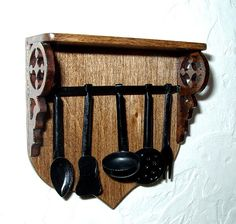 Kitchen Utensil Rack Black Wrought Iron Medieval by CalicoJewels