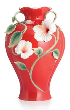 Franz Porcelain Island Beauty Hibiscus Vase W/ Wooden Base (Limited Edition 988)
