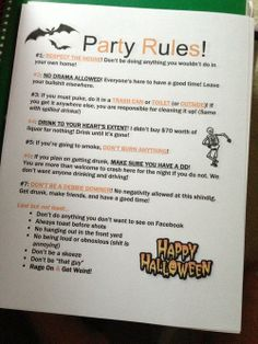 party rules tumblr - Halloween Party Rules
