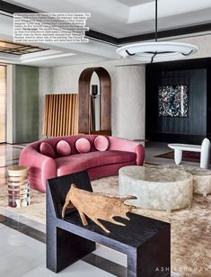 We are in love with the pink sofa in this pretty bold interior by talented Interior Design Inspiration, Modern Interior Design, Interior Styling, Interior Architecture, Eclectic Design, Eclectic Style, Interior Paint, Home Decor Items, Cheap Home Decor
