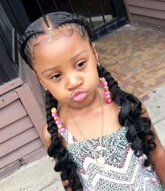 Little Girl Braids and Curls lil girl black little girls hair styles - Hair Style Girl Black Kids Hairstyles, Cute Braided Hairstyles, Baby Girl Hairstyles, My Hairstyle, Teenage Hairstyles, Little Girl Braid Hairstyles, Toddler Hairstyles, Black Hairstyle, African Hairstyles