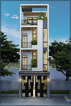 Visit the post for more. House Outer Design, Modern Small House Design, House Front Design, Minimalist House Design, Narrow House Designs, Narrow House Plans, Townhouse Designs, Bungalow House Design, Model House Plan
