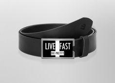 Gürtel Live fast die pretty | Wechselwild Belt with interchangeable designs #belt #buckle #wechselwild #black #typo #typography #cool #hip #life #die #hipster #cross #hipstercross #prettysucks