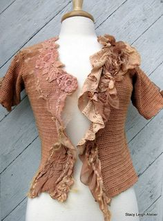 Hand Crocheted Tea Stained Blouse with by stacyleighatelier