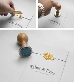carte d invitation mariage avec un griffe en cire, faire-part de mariage original