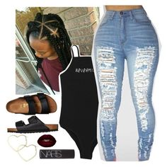 """Untitled #371"" by melaninmula ❤ liked on Polyvore featuring Birkenstock, Thalia Sodi and NARS Cosmetics"