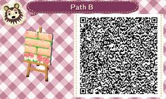 Animal Crossing QR Codes ❤ Manila brick path w/ pink rose border and petals:) TILE# 6<-- Lower Side Straight