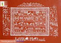 Saura tribes of Odisha specially famous for rich variety of their paintings based on religious & ceremonial themes. Worli Painting, Kerala Mural Painting, Indian Art Gallery, Indian Contemporary Art, Pooja Room Door Design, Rhythmic Pattern, Indian Folk Art, List Of Artists, Tribal Art