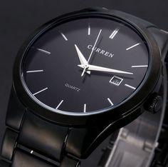 Pánské originální levné tenké náramkové hodinky CURREN černé s kovovým  páskem Na tento produkt se vztahuje 8c523a2c03