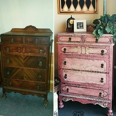 Antique Chest Of Drawers finished in 2 shades of pink and antique white...