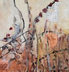 "Honey Bee Garden, encaustic, silver leaf, copper leaf, oil pigment on birch panel, 30 X 30"" See web site for more information"