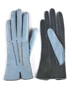 Gloves - Maker unknown  ca.1950. Blue and navy leather. Made from French leather imported from Paris before the fall of France July 1940.