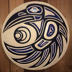 Westcoast Native design Raven & Moon panel by Harvey John (Nuu-chah-nulth).  With abalone inlay.