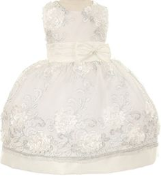 Flower Girl Dress 3D Flower Embroidery with Ribbon fior Baby  Infant Ivory 18M S3006CH * Click image for more details.