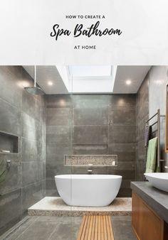 How to create a spa bathroom at home Bathroom Spa, Bathroom Renos, Basement Bathroom, Master Bathroom, Bathroom Ideas, Long Narrow Bathroom, Bathroom Colours, Luxury Decor, Home Reno