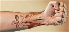 I think I finally found a tattoo for Mike only his would be Iron Man or Van Helsing or something. Hand To Hand Combat, Bruce Lee, Future Tattoos, Beautiful Tattoos, Special Interest, It's Funny, Tattoo Ideas, Funny Pictures, Tattoos
