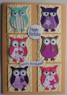 Owl Punch - Penguin Punch Art Template Stampin' Up! Bday Cards, Kids Birthday Cards, Happy Birthday, Owl Punch Cards, Owl Card, Stamping Up Cards, Marianne Design, Scrapbook Cards, Scrapbook Albums