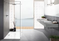 The Architectura collection of bathroom accessories from Villeroy & Boch includes a line of toilets ✔ sinks & more ✔ featuring sleek lines and a puristic design! Open Showers, Villeroy, Wet Rooms, Flat Design, Modern Interior Design, Kitchen Furniture, Minimalist Design, Master Bathroom, Kitchen Design