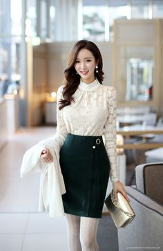 Office fashion, work fashion, daily fashion, office dresses, office o Korean Fashion Work, Work Fashion, Asian Fashion, Skirt Fashion, Daily Fashion, Fashion Models, Fashion Dresses, 70s Fashion, Mode Outfits