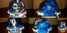 Reapers and skulls.  Custom hard hats by