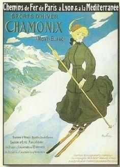 AFFICHE 50X70cm PAYSAGE CHAMONIX Jeux Olympiques 1924