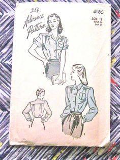 1940s Advance 4185  Blouse Pattern  Bust 36 inches by Fancywork, $25.00