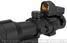 Bravo OP Style 4x32 Magnified Scope with Crosshair Reticle and Red Dot Reflex Sight, Accessories & Parts, Scopes & Optics, Red Dot Sights - Evike.com Airsoft Superstore