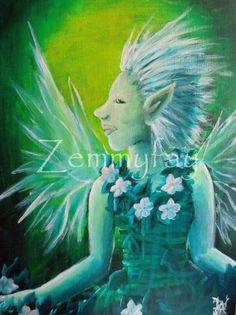 The Green Spring Fairy : For sale on Etsy, And done with acrylic paint on canvas board.