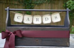 Wedding card holder box / wedding crate - your choice of colored ribbon. via @Etsy.
