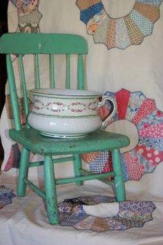 Early chamber pot and childs chair. 1920s Bedroom, Old Benches, Potty Chair, Wash Stand, Bench Stool, Farms Living, Antique Chairs, Rocking Chairs, Diy Chair