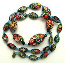 Art Deco Venetian MORETTI Millifiore Glass Rooster Cane Bead Necklace REDUCED!