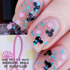 "Nails Disney Inspired - ""Wonderful World of Disneyland"" Glitter Topper Nail Polish - M. Disney Inspired - ""Wonderful World of Disneyland"" Glitter Topper Nail Polish - Mickey, Dot, Silver G Disney Nail Designs, Cute Nail Designs, Easter Nail Designs, Cute Nails, My Nails, Pointy Nails, Dark Nails, Disney Inspired Nails, Christmas Manicure"