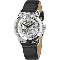 Stuhrling Original Women's Lady Winchester Automatic Skeleton Black Leather Strap Watch - Free Shipping Today - Overstock.com - 18087678 - Mobile