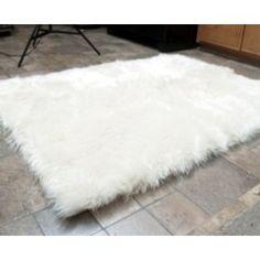 Faux Fur Area Rug White