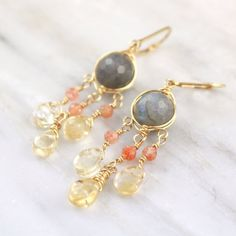 Labradorite, Sunstone and Citrine Gold Wrapped Chandelier Earrings — Sarah DeAngelo Jewelry rustic feminine handmade Gold Jewelry, Jewelry Box, Jewelry Making, Chandelier Earrings, Drop Earrings, Shades Of Green, Artisan Jewelry, Labradorite, The Help