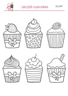 Cupcakes, sorvetes, bolos e doces (Cupcakes, ice creams, cakes and sweets) Coloring Pages For Grown Ups, Free Adult Coloring Pages, Coloring Pages To Print, Free Printable Coloring Pages, Coloring For Kids, Colouring Pages, Coloring Books, Cupcake Drawing, Cupcake Art
