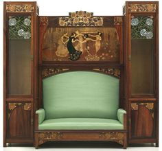 Gaspar Homar & Josep Pey, sofa with display cabinet and marquetry panel, 1903.