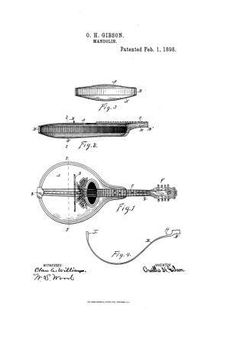 Historic First Gibson Patent Mandolin Art Print Drawing