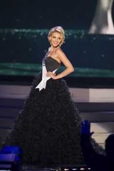 Josefin Donat, Miss Germany 2014 competes on stage in her evening gown during the Miss Universe Preliminary Show in Miami, Florida on January 21, 2015.