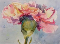 Kay Smith carnation: I spritzed cobalt blue, arylide yellow, and permanent rose onto dry paper. I used a black and white photo and not color to get as spontaneous as possible. Next I began laying in the darks...