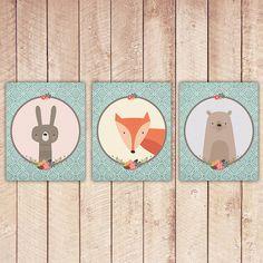 Nursery Printable SET of 3 - Animals, Teal Blue, Fox Bear, Rabbit, Nursery Decor, Nursery Printables, Wall Art, Instant Download NAP