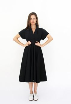 This Dark Blue dress is a very Elegant and soft With Short sleeve, black bell…