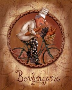 Chefs On Bikes-boulangerie Art Print by Shari Warren. All prints are professionally printed, packaged, and shipped within 3 - 4 business days. Choose from multiple sizes and hundreds of frame and mat options. Vintage Diy, Vintage Labels, Chef Kitchen Decor, Kitchen Art, Chef Pictures, Creation Photo, Photo D Art, Le Chef, Decoupage Paper
